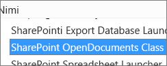 Lisandmooduli SharePoint OpenDocuments Class ActiveX-juhtelemendi lubamine