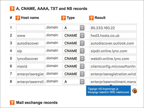 Väärtuste sisestamise lehel Add/Modify DNS Zone