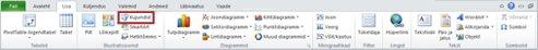 Esiletõstetud kujunditega menüü Lisa rakenduses Excel 2010.