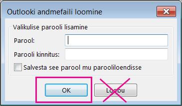 """PST-faili loomisel klõpsake nuppu """"OK"""" ka juhul, kui te ei soovi failile parooli määrata"""