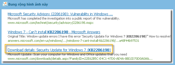 Microsoft Download Center will automatically search for all contents related to the update number you provided. Based on you operating system, select the Security Update for Windows7.