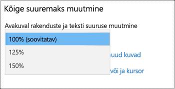 Windowsi sätete lehe jaotises Hõlbustus sätted, millel on kujutatud teha kõike suurem valik laiendatud rippmenüü abil.