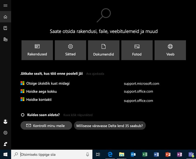 Windows 10-s otsimine
