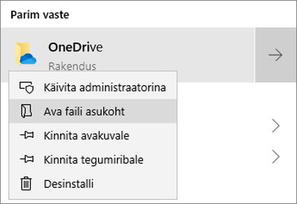 Menüü Start paremklõpsumenüü kuvatõmmis, kus on valitud Ava faili asukoht.