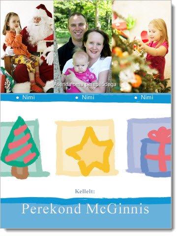 Jõulukaardid, millel on kohatäited fotode jaoks