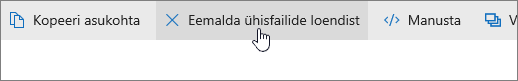 """Kuvatõmmis saidil OneDrive.com olevast nupust """"Eemalda ühisfailide loendist""""."""