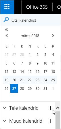 """Kuvatõmmis kalendri navigeerimispaanil asuvatest jaotistest """"Teie kalendrid"""" ja """"Muud kalendrid""""."""