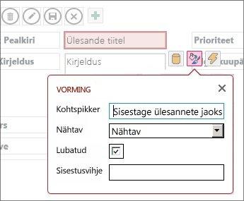 Vaade redigeerimisrežiimis, kus on kuvatud tekstivälja vormindussätted