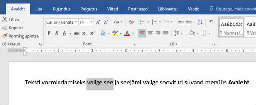 Wordi teksti vormindamise valikud lindil