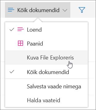 SharePoint Online'i vaatemenüüs esiletõstetud käsk Ava Exploreris