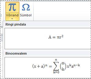 Eelvormindatud võrrandeid võrrandi loendis