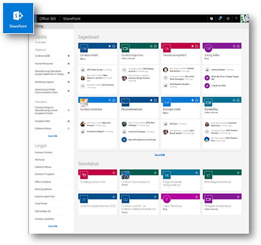 SharePoint Online'i kaasaegse kujundusega avaleht