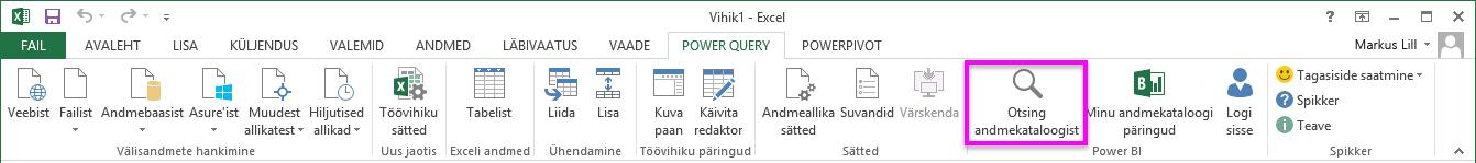Andmekataloogi otsingu funktsiooni uus asukoht ja nimi