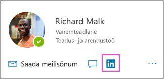 LinkedIni ikooni kuvamine profiilikaardil