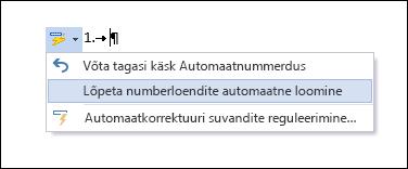 Nummerdussuvandid kuvatakse automaatkorrektuuri aknas.