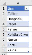 Andmete valideerimise loendiallikana kasutatud Exceli tabel