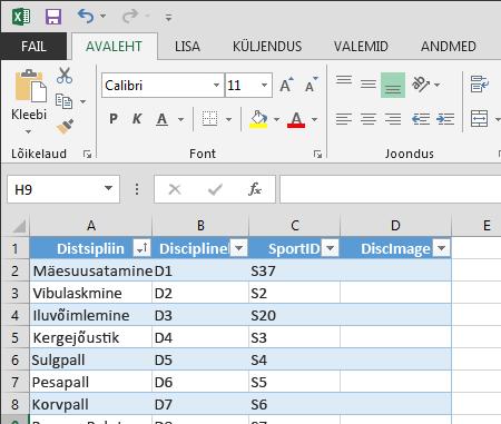 Tabeli laiendamine Excel