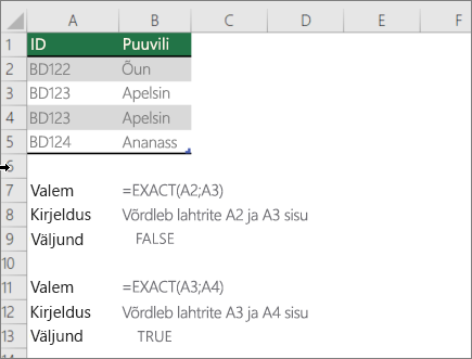 Näide, kasutades funktsiooni EXACT võrdlemiseks ühe lahtri