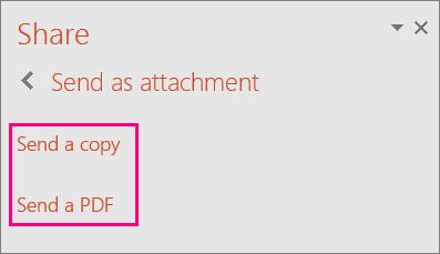 Kuvatakse PowerPoint 2016 link Saada PDF-fail