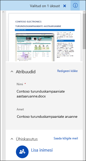 Office 365: dokumendi metaandmete paan