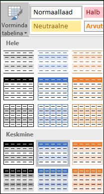 Exceli laadigalerii valikud käsu Vorminda tabelina juures