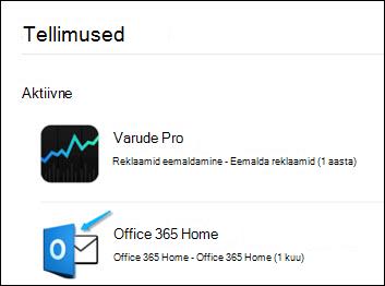 Pilt näitab, et Outlooki kasutati Office 365 ostmiseks.