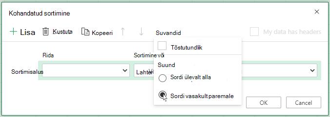 """Kohandatud sortimine avatud """"Options"""" Menu (Suvandid) ja valige käsk Sordi vasakult paremale"""
