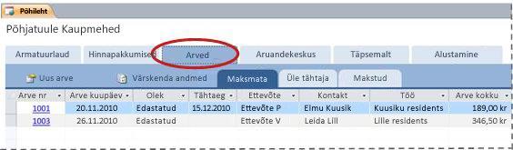 Andmebaasimalli Teenused vahekaart Arved