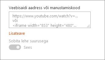 Video URL-i kleepida või manustamiskood väljale