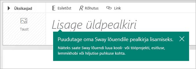 Sway teemaarenduse pealkirjaviip