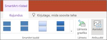 Teksti muuteklahvi lindil soovitud SmartArt-pildi rakenduses PowerPoint Online.