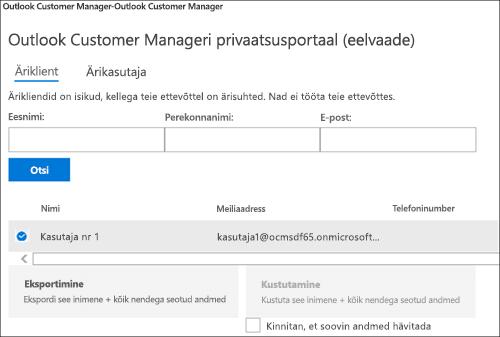 Kuvatõmmis: Eksportimine Outlooki kliendi halduri kliendi andmed