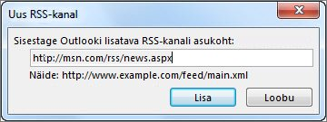 Sisestage RSS-kanali URL