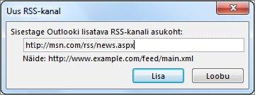 RSS-kanali URL-i sisestamine