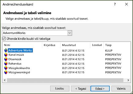Andmeühendusviisardi > valige andmebaas ja tabel