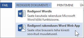 Redigeeri rakenduses Word Online