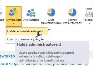 SPO saidiadministraatori omanike nupp, kus on esile tõstetud käsk Halda administraatoreid.