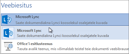 Veebiesitus Microsoft Lynci abil