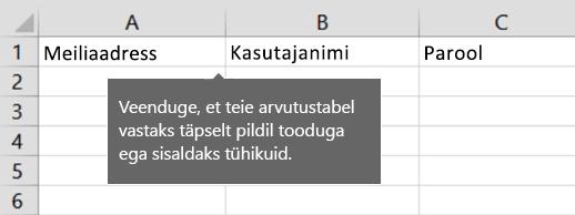 Lahtripealkirjad Exceli migreerimisfailis