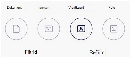 Režiimide suvandid piltide skannimiseks rakenduses OneDrive for iOS