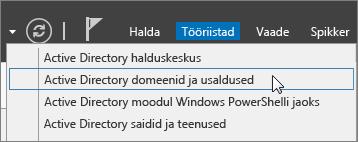 """Valige """"Active Directory domeenid ja usaldussuhted""""."""
