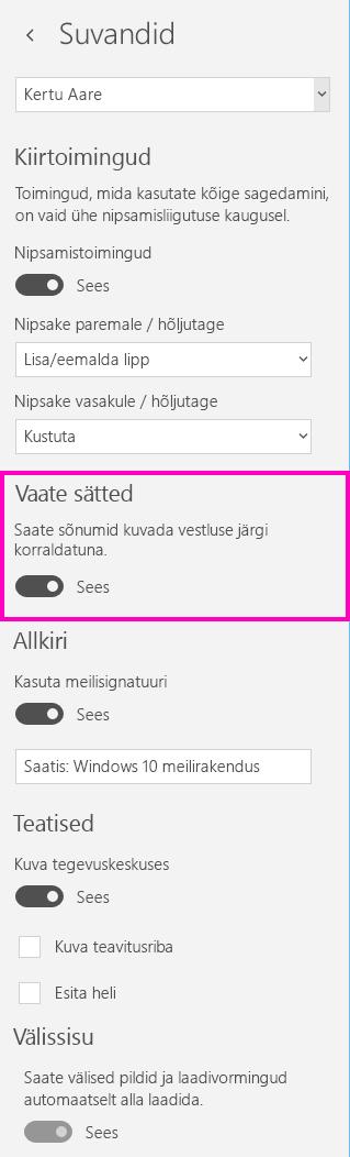 Vestlusvaate väljalülitamine Windows 10 meilirakenduses