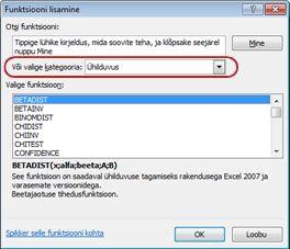 Dialoogiboks Funktsiooni lisamine