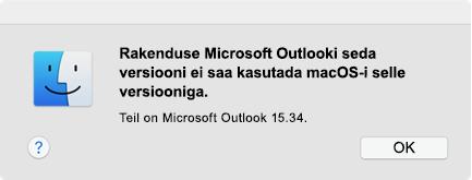 """Tõrge: """"You can't use this version of the application"""" (Seda rakenduse versiooni ei saa kasutada.)"""