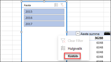 PivotTable-liigendtabeli tükeldi kontekstimenüü Exceli veebirakendus