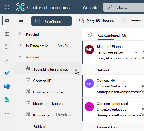 Office 365 rühmade Outlookis