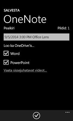 OneDrive'is piltide saatmine Wordi ja PowerPointi