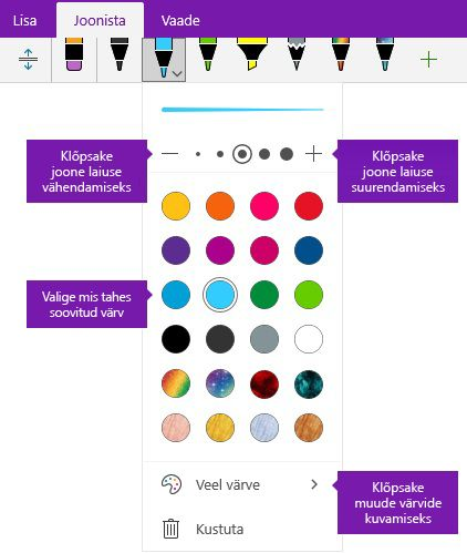 Tint jämeduse laiuse ja värvi suvandid rakenduses OneNote for Windows 10