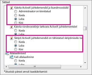 ActiveX-juhtelementidel Internet Exploreris laadimise ja käivitumise lubamine