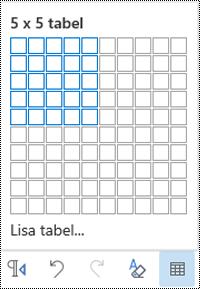 Outlooki veebirakenduse tabeliruudustiku.